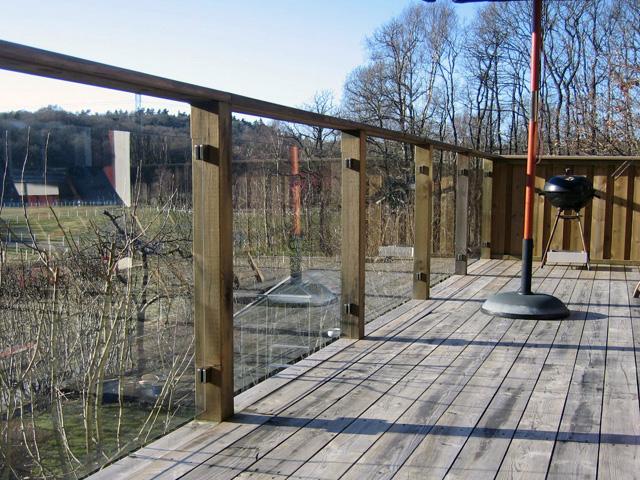 Rekkverk terrasse glass